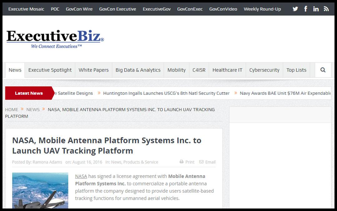 NASA, Mobile Antenna Platform Systems Inc. to Launch UAV Tracking Platform