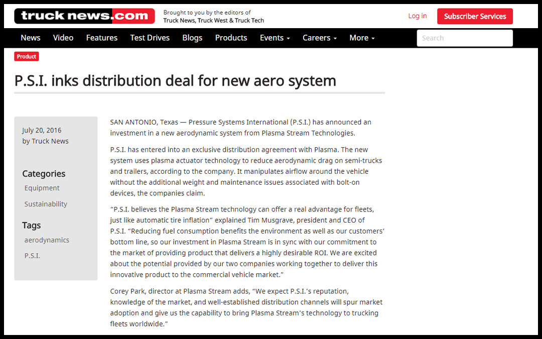 P.S.I. inks distribution deal for new aero system – Plasma Stream