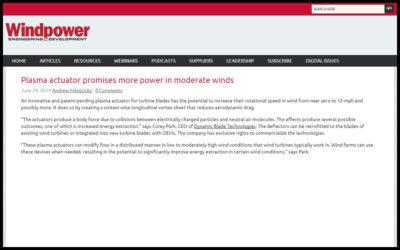 Plasma Wind Media Release in Windpowerengineering.com