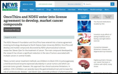OncoThira and NDSU enter into license agreement to develop, market cancer compounds