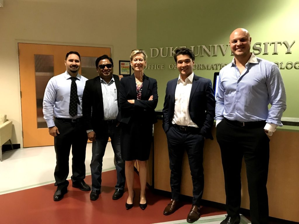 The ATV team and AIP partner Koma Fenton meet with the Duke University technology transfer team to discuss licensing an exciting new technology